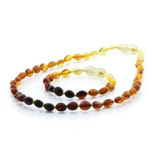 BALTIC AMBER TEETHING NECKLACE & BRACELET SET. OLIVE RAINBOW I 5X4 MM