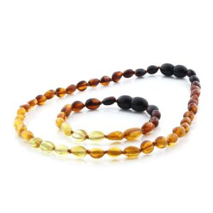 BALTIC AMBER TEETHING NECKLACE & BRACELET SET. OLIVE RAINBOW II 5X4 MM