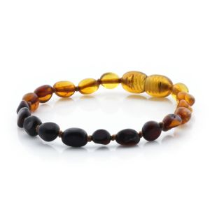 BALTIC AMBER TEETHING BRACELET. OLIVE RAINBOW I C 5X4 MM