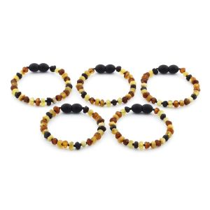 BALTIC AMBER BRACELET FOR KIDS WHOLESALE LOT OF 5PCS. ROUNDEL. XR53M2-RAW