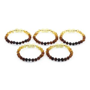 BALTIC AMBER BRACELET FOR KIDS WHOLESALE LOT OF 5PCS. BAROQUE. XB55R1-RAW
