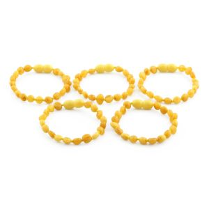 BALTIC AMBER BRACELET FOR KIDS WHOLESALE LOT OF 5PCS. SIDE DRILL. XS54MO