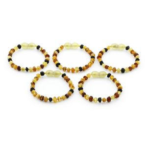 BALTIC AMBER BRACELET FOR KIDS WHOLESALE LOT OF 5PCS. ROUNDEL. XR53M1-RAW