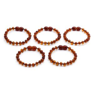 BALTIC AMBER BRACELET FOR KIDS WHOLESALE LOT OF 5PCS. BAROQUE. XB55C