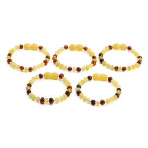 BALTIC AMBER BRACELET FOR KIDS WHOLESALE LOT OF 5PCS. BAROQUE. BE176