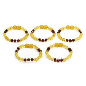 BALTIC AMBER BRACELET FOR KIDS WHOLESALE LOT OF 5PCS. ROUNDEL. BE177