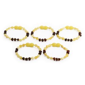 BALTIC AMBER BRACELET FOR KIDS WHOLESALE LOT OF 5PCS. OLIVE. CE130