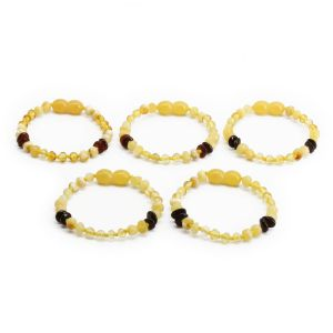 BALTIC AMBER BRACELET FOR KIDS WHOLESALE LOT OF 5PCS. BAROQUE. CE131