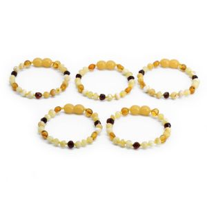 BALTIC AMBER BRACELET FOR KIDS WHOLESALE LOT OF 5PCS. BAROQUE. LE353