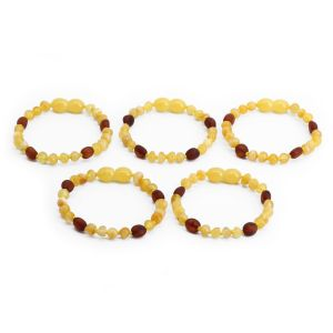 BALTIC AMBER BRACELET FOR KIDS WHOLESALE LOT OF 5PCS. BAROQUE. LE363