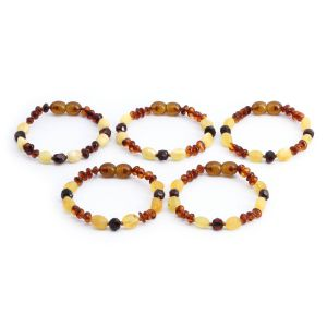 BALTIC AMBER BRACELET FOR KIDS WHOLESALE LOT OF 5PCS. LIMITED EDITION. BE182