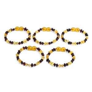 BALTIC AMBER BRACELET FOR KIDS WHOLESALE LOT OF 5PCS. LIMITED EDITION. LE358