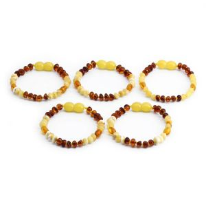 BALTIC AMBER BRACELET FOR KIDS WHOLESALE LOT OF 5PCS. LIMITED EDITION. LE365