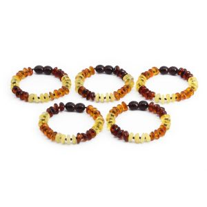 BALTIC AMBER BRACELET FOR KIDS WHOLESALE LOT OF 5PCS. LIMITED EDITION. BE180