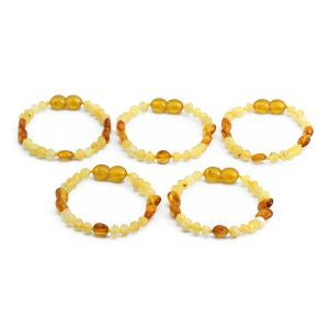 BALTIC AMBER BRACELET FOR KIDS WHOLESALE LOT OF 5PCS. LIMITED EDITION. BE184