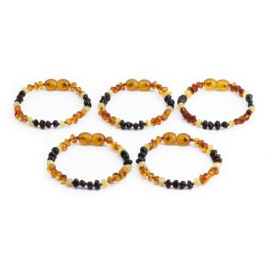 BALTIC AMBER BRACELET FOR KIDS WHOLESALE LOT OF 5PCS. LIMITED EDITION. CE132
