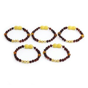 BALTIC AMBER BRACELET FOR KIDS WHOLESALE LOT OF 5PCS. LIMITED EDITION. LE367