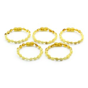 BALTIC AMBER BRACELET FOR KIDS WHOLESALE LOT OF 5PCS. OLIVE. BE164