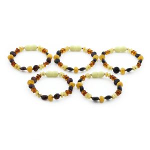 BALTIC AMBER BRACELET FOR KIDS WHOLESALE LOT OF 5PCS. ROUNDEL. BE167