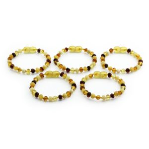 BALTIC AMBER BRACELET FOR KIDS WHOLESALE LOT OF 5PCS. BAROQUE. XB54M1A