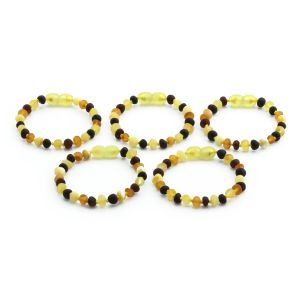BALTIC AMBER BRACELET FOR KIDS WHOLESALE LOT OF 5PCS. BAROQUE. XB54M1M