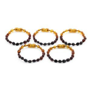 BALTIC AMBER BRACELET FOR KIDS WHOLESALE LOT OF 5PCS. OLIVE. XO54R1C