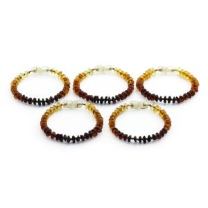 BALTIC AMBER BRACELET FOR KIDS WHOLESALE LOT OF 5PCS. ROUNDEL. XR52R1