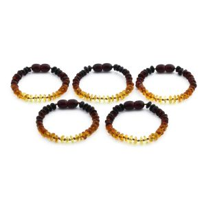 BALTIC AMBER BRACELET FOR KIDS WHOLESALE LOT OF 5PCS. ROUNDEL. XR52R2