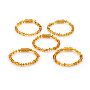 BALTIC AMBER BRACELET FOR KIDS WHOLESALE LOT OF 5PCS. BAROQUE. XB43LC