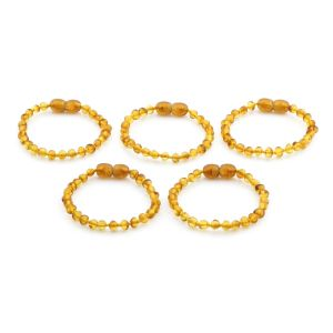 BALTIC AMBER BRACELET FOR KIDS WHOLESALE LOT OF 5PCS. BAROQUE. XB44LC