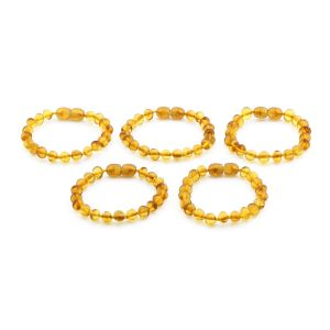 BALTIC AMBER BRACELET FOR KIDS WHOLESALE LOT OF 5PCS. BAROQUE. XB65LC