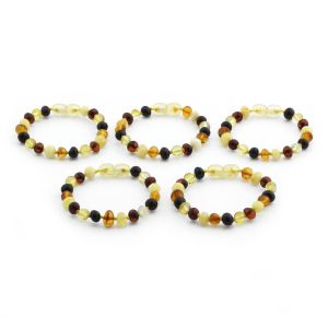 BALTIC AMBER BRACELET FOR KIDS WHOLESALE LOT OF 5PCS. BAROQUE. XB65M1