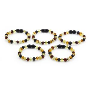 BALTIC AMBER BRACELET FOR KIDS WHOLESALE LOT OF 5PCS. BAROQUE. XB65M2