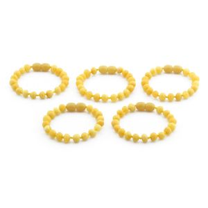 BALTIC AMBER BRACELET FOR KIDS WHOLESALE LOT OF 5PCS. BAROQUE. XB65MO
