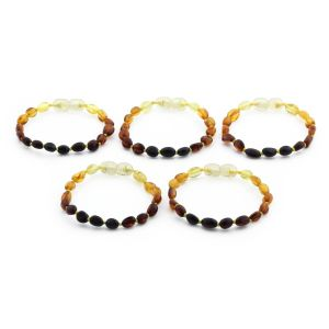BALTIC AMBER BRACELET FOR KIDS WHOLESALE LOT OF 5PCS. OLIVE. XO54R1