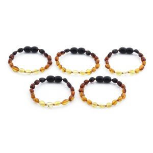 BALTIC AMBER BRACELET FOR KIDS WHOLESALE LOT OF 5PCS. OLIVE. XO54R2