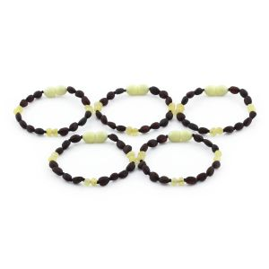 BALTIC AMBER BRACELET FOR KIDS WHOLESALE LOT OF 5PCS. OLIVE. BE165