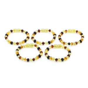 BALTIC AMBER BRACELET FOR KIDS WHOLESALE LOT OF 5PCS. BAROQUE. XB55M1