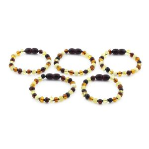 BALTIC AMBER BRACELET FOR KIDS WHOLESALE LOT OF 5PCS. BAROQUE. XB55M2
