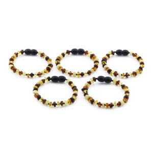 BALTIC AMBER BRACELET FOR KIDS WHOLESALE LOT OF 5PCS. ROUNDEL. XR53M2