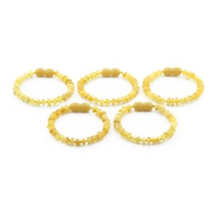 BALTIC AMBER BRACELET FOR KIDS WHOLESALE LOT OF 5PCS. ROUNDEL. XR53MO