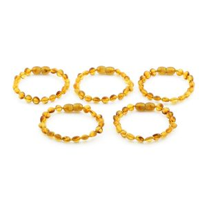 BALTIC AMBER BRACELET FOR KIDS WHOLESALE LOT OF 5PCS. SIDE DRILL. XS64LC