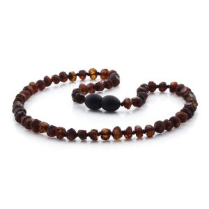 BALTIC AMBER NECKLACE FOR KIDS. ROUNDEL COGNAC ROUGH 5X3 MM