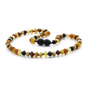 ROUGH BALTIC AMBER TEETHING NECKLACE. ROUNDEL MULTICOLOR II 5X3 MM