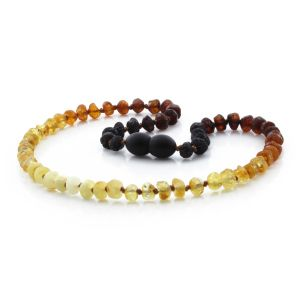RAW BALTIC AMBER TEETHING NECKLACE. ROUNDEL RAINBOW IV 5X3 MM