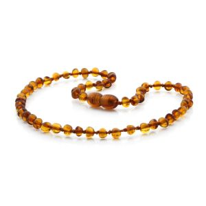 BALTIC AMBER TEETHING NECKLACE. BAROQUE COGNAC 4X4 MM