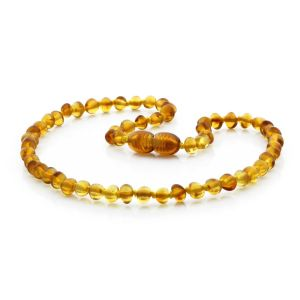 BALTIC AMBER TEETHING NECKLACE. BAROQUE LIGHT COGNAC 4X4 MM