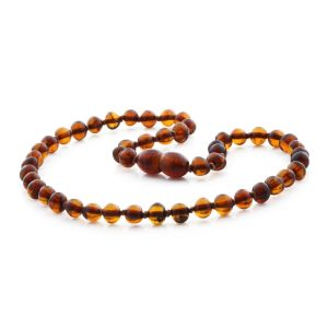 BALTIC AMBER NECKLACE FOR KIDS. BAROQUE COGNAC 5X5 MM