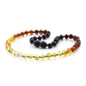 BALTIC AMBER NECKLACE FOR KIDS. BAROQUE RAINBOW II 5X5 MM