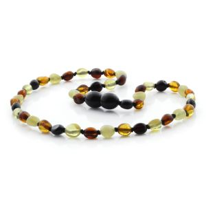 BALTIC AMBER NECKLACE FOR KIDS. OLIVE MULTICOLOR II 5X4 MM